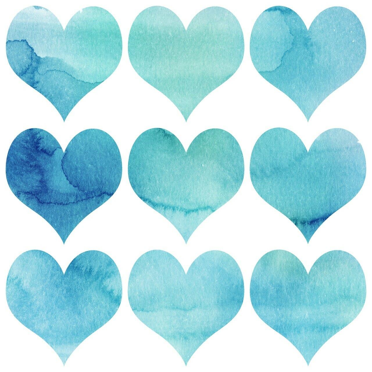 Watercolor of blue hearts